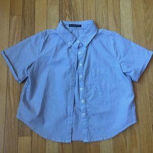 Brandy Melville Peyton Oxford Blue Striped Shirt